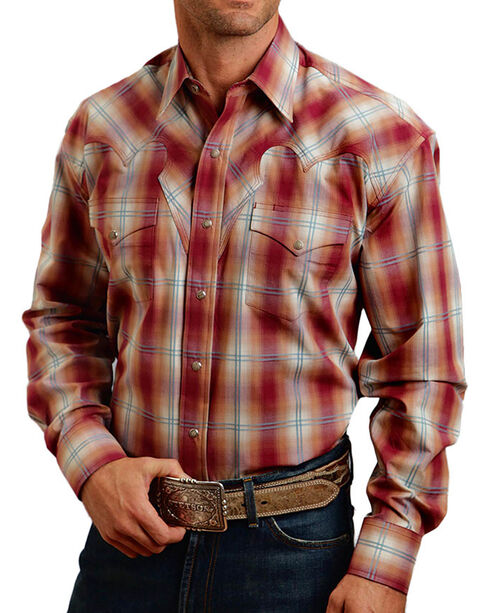 Stetson Men's Red Fire Plaid Long Sleeve Shirt, Rust Copper, hi-res
