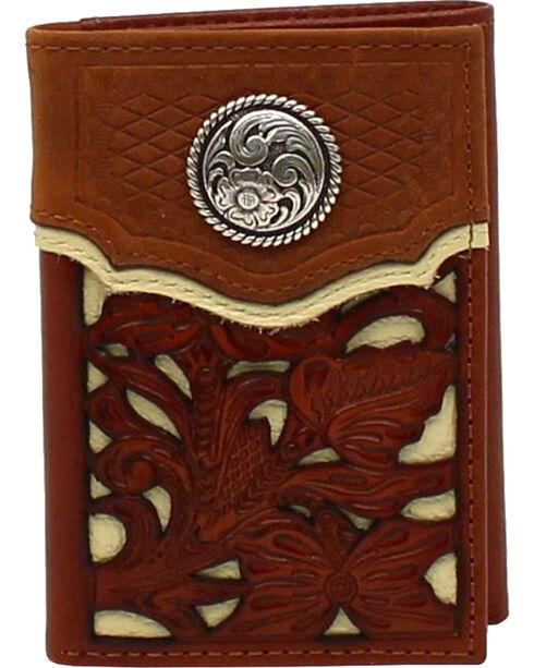 Nocona Men's Concho Overlay Western Wallet , Medium Brown, hi-res