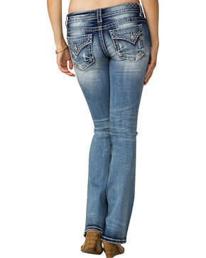 Miss Me Women's Indigo Signature Rise Feather Emblem Jeans - Boot Cut, Indigo, hi-res