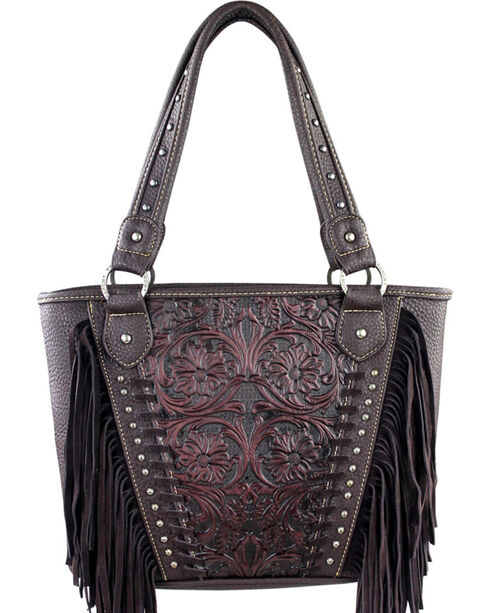 Montana West Trinity Ranch Brown Tooled Design Concealed Handgun Collection Handbag with Fringe, Brown, hi-res