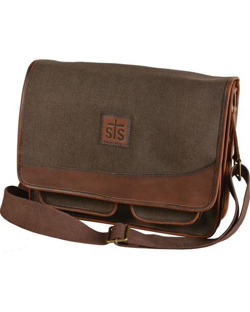 STS Ranchwear Foreman Dark Canvas Messenger Bag, Brown, hi-res