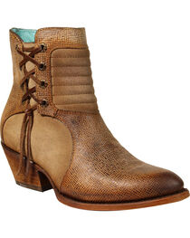 Corral Women's Yute Textured Short Boots - Medium Toe , Tan, hi-res