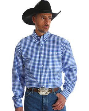Wrangler Men's Blue Checkered George Strait Long Sleeve Shirt - Big & Tall , Blue, hi-res