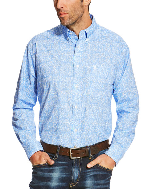 Ariat Men's Blue Orodell Print Long Sleeve Western Shirt - Tall, Blue, hi-res