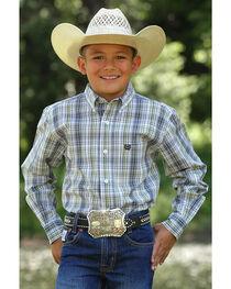 Cinch Toddler Boys' Plaid Button Down Long Sleeve Shirt, , hi-res