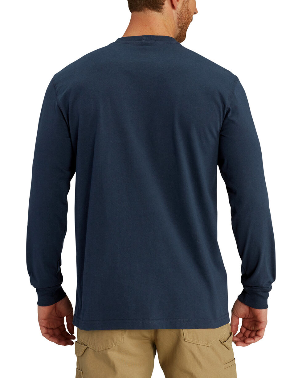 Carhartt Men's Lubbock Distressed Flag Long Sleeve T-Shirt, Navy, hi-res