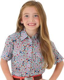 Wrangler Girls' Pattern Short Sleeve Shirt, Multi, hi-res
