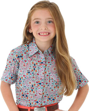 Wrangler Girls' Pattern Short Sleeve Shirt, Multi, hi-res