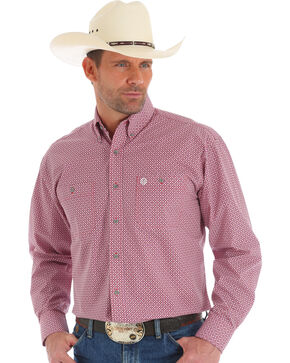 Wrangler George Strait Men's Red Geo Print Shirt , Red, hi-res