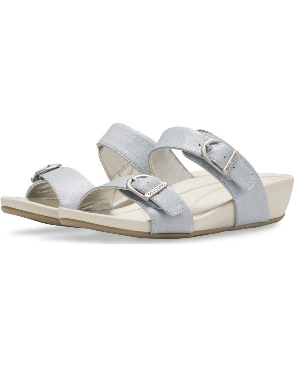 Eastland Women's Light Blue Cape Ann Buckle Slide Sandals , Light Blue, hi-res