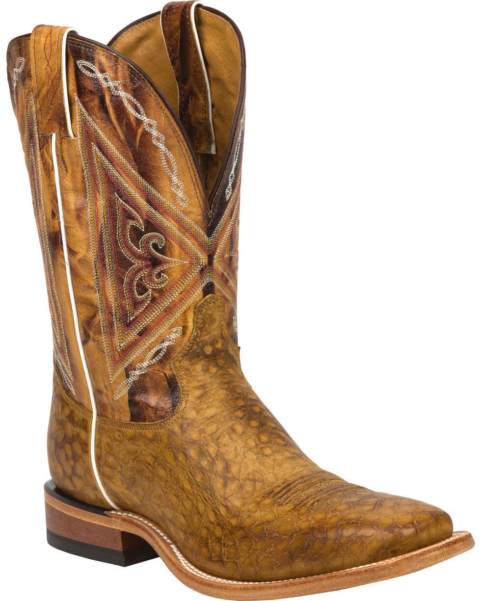 Tony Lama Men's Reverse Quill Print Western Boots, Tan, hi-res