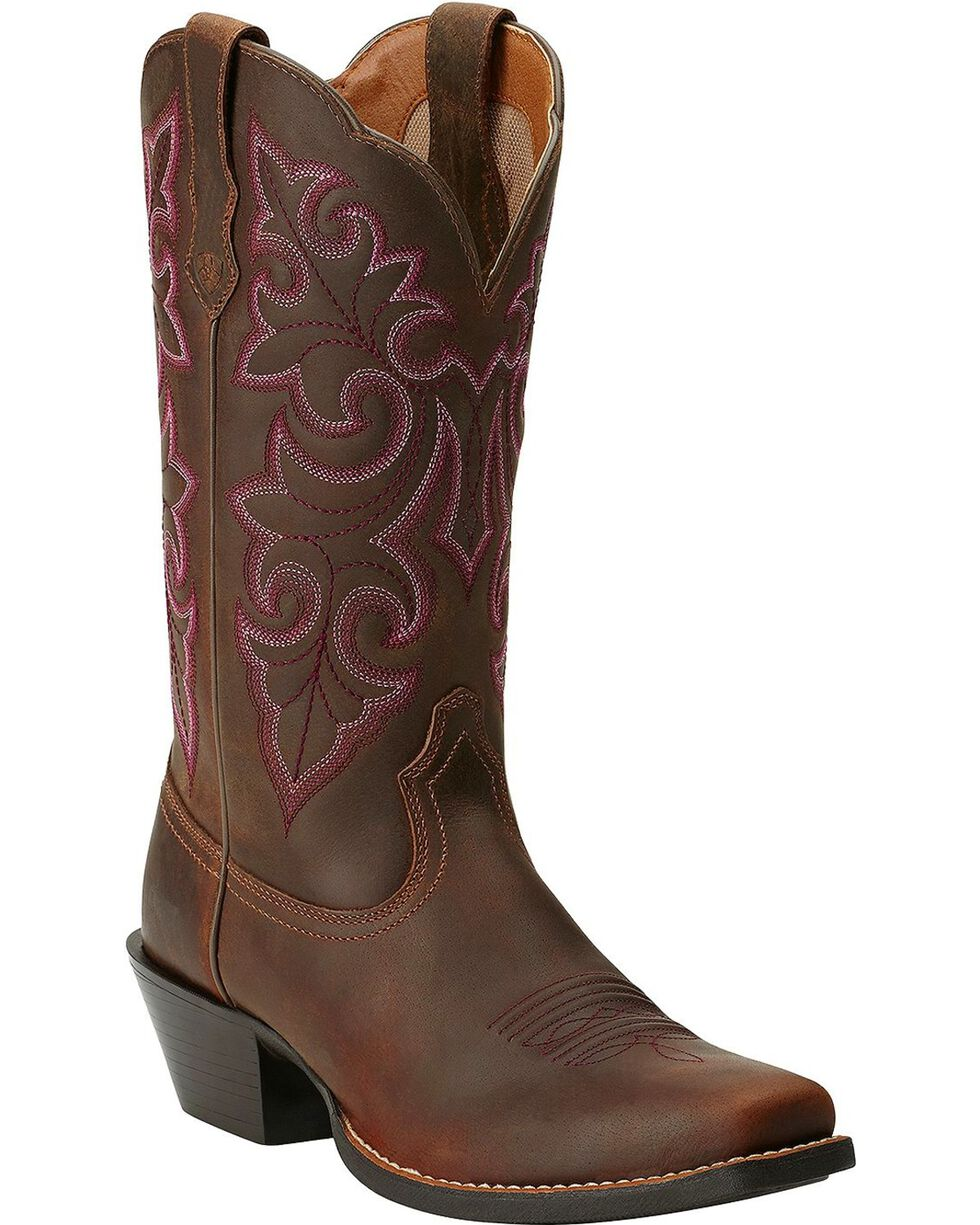 Ariat Women's Round Up Square Toe Western Boots, Brown, hi-res