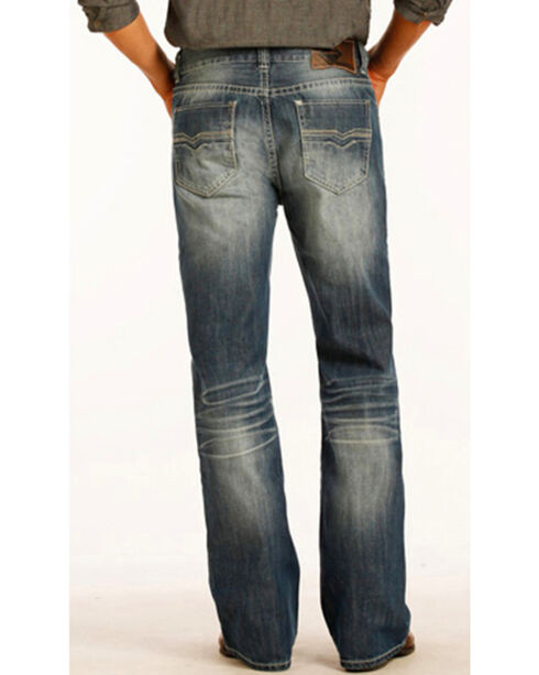 "Rock & Roll Cowboy Men's Small ""V"" Double Barrel Jeans - Boot Cut , Indigo, hi-res"