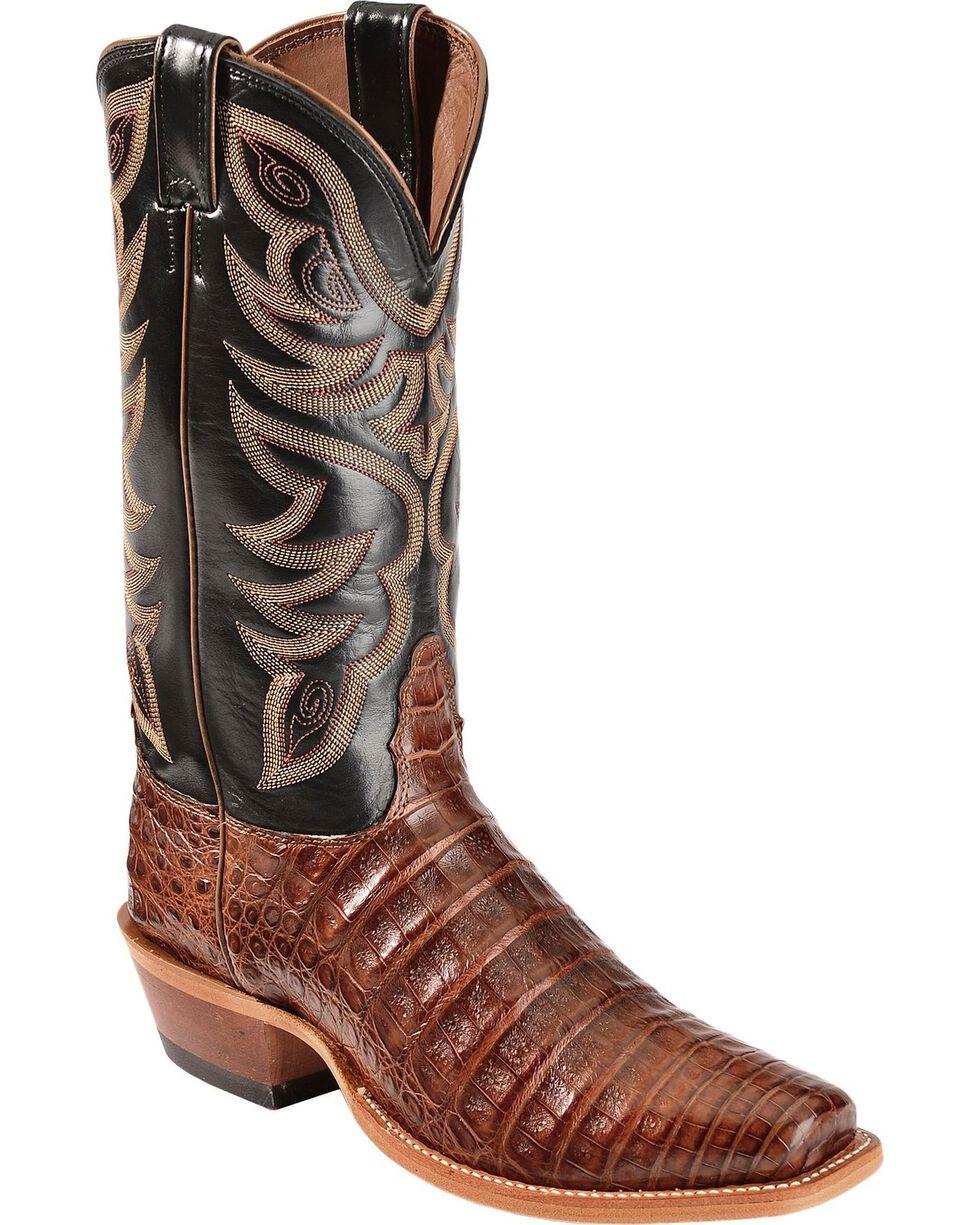 Nocona Men's Caiman Exotic Square Toe Exotic Boots, Cognac, hi-res