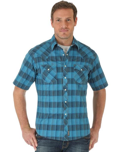 Wrangler Men's Box Plaid Short Sleeve Shirt, Blue, hi-res