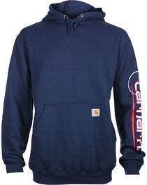 Carhartt Men's Navy Graphic Sleeve Hooded Sweatshirt - Tall , , hi-res
