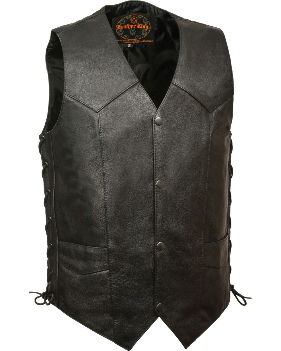 Milwaukee Leather Men's Classic Side Lace Vest w/ Gun Pockets - Big, Black, hi-res
