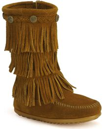 Minnetonka Girls' Fringed Suede Boots, , hi-res