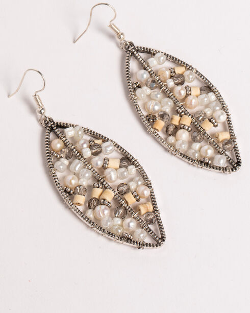 Shyanne Women's Beaded Leaf Earrings, Sand, hi-res