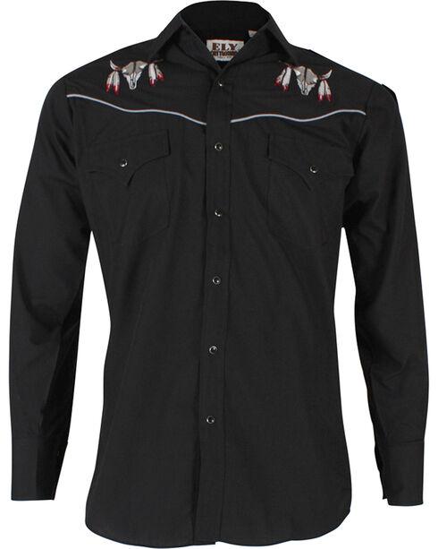 Ely Walker Men's Embroidered Cow Skull Long Sleeve Western Shirt, Black, hi-res