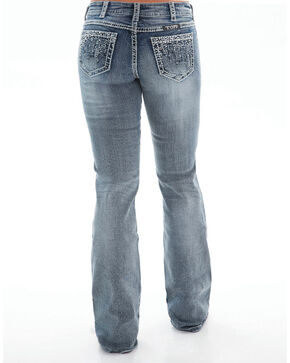 Cowgirl Tuff Women's Crystal Waterfall Boot Cut Jeans, Indigo, hi-res