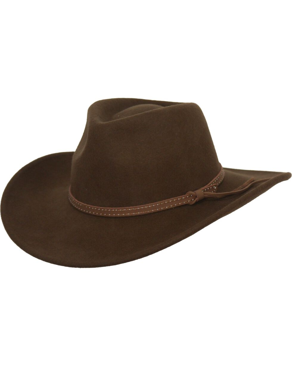 Outback Trading Co. Cooper River Crushable Australian Wool Hat, Brown, hi-res