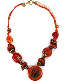 Treska Women's Saffron Sunset Chunky Beads on Cord Necklace , , hi-res