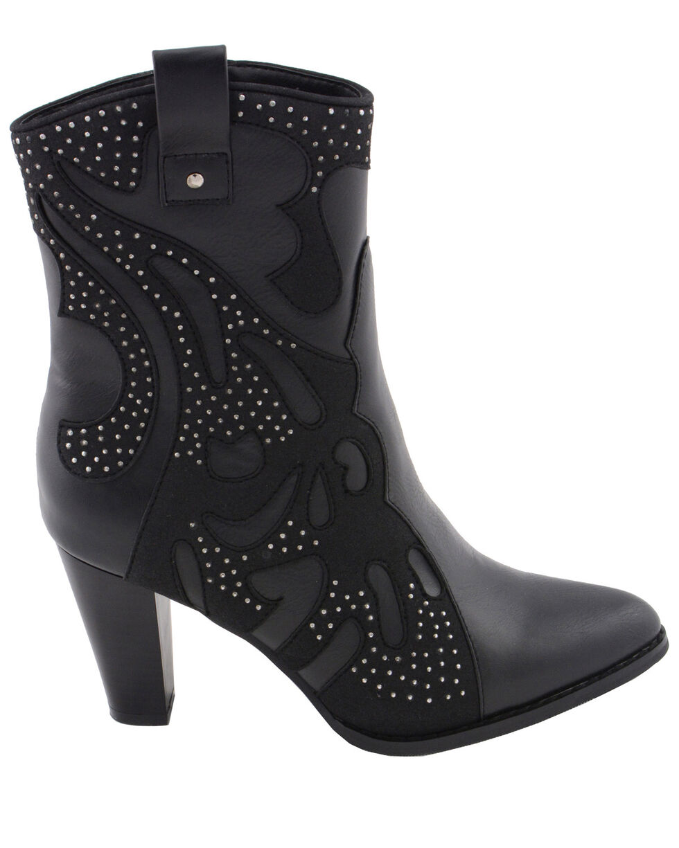 Milwaukee Leather Women's Studded Overlay Western Style Boots - Pointed Toe, Black, hi-res