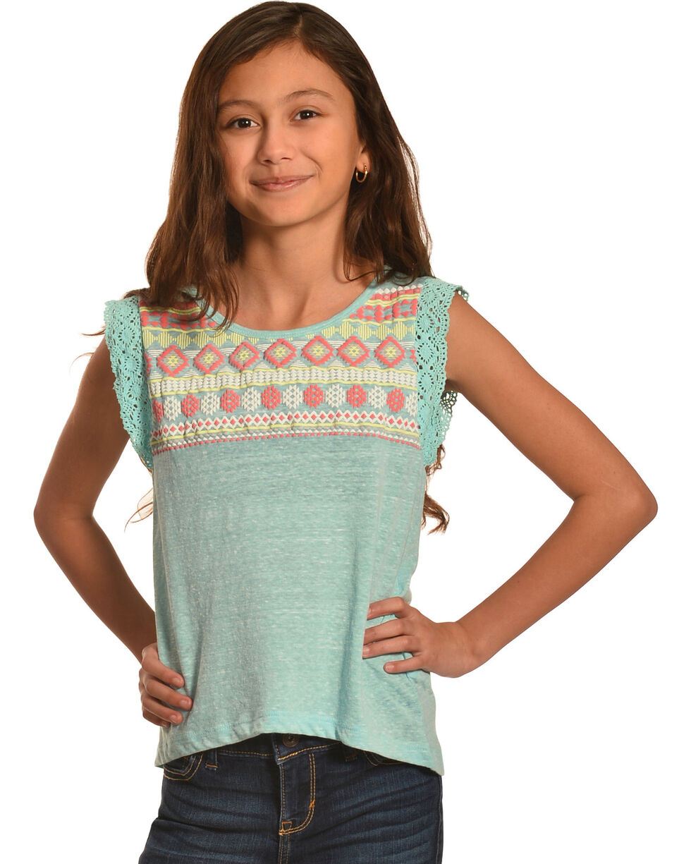 Derek Heart Girls' Blue Crochet Lace Flutter Sleeve Hi Lo Top with Puff Print, Blue, hi-res