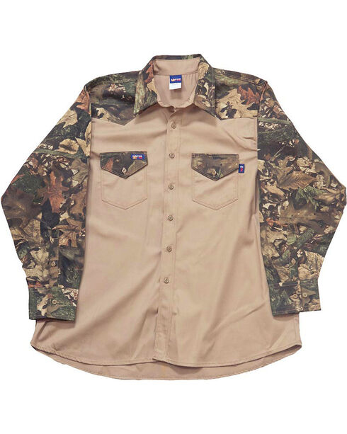 Lapco Men's Long Sleeve Flame Resistant Work Shirt, Beige/khaki, hi-res