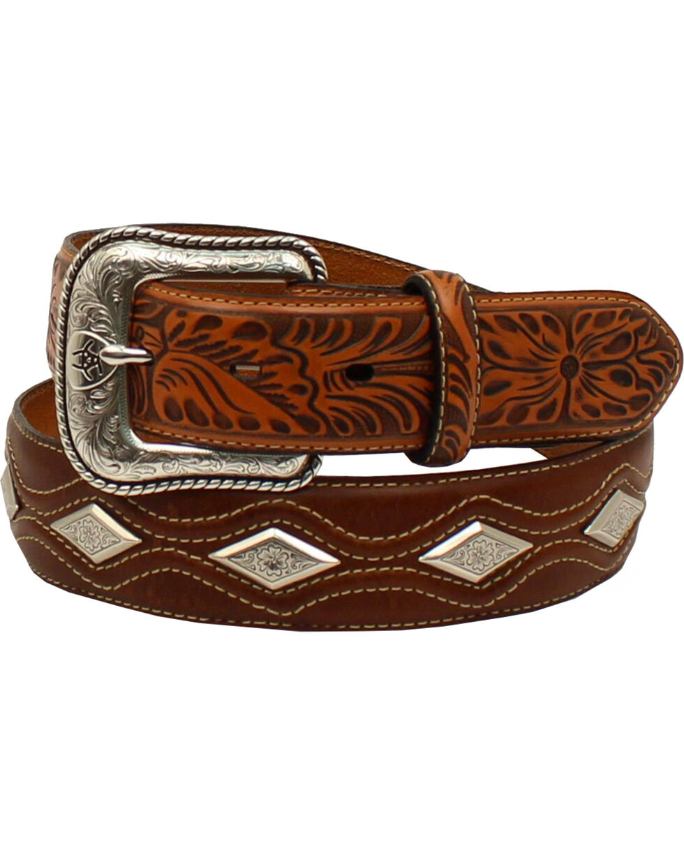 Ariat Men's Floral Diamond Western Belt , Tan, hi-res