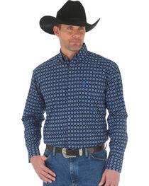 Wrangler George Strait Men's Blue Printed Poplin Button Shirt, , hi-res