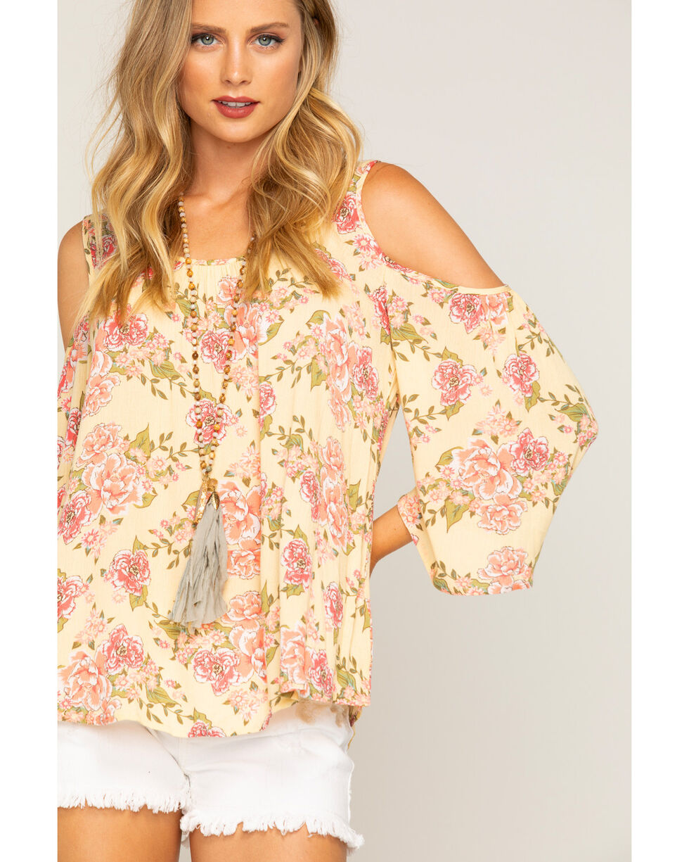 Shyanne Women's Floral Cold Shoulder Long Sleeve Top, Yellow, hi-res
