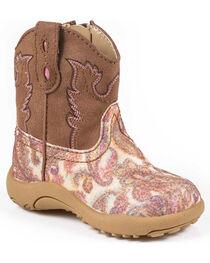 Roper Infant Girls' Pink Glitter Paisley Cowbabies Boots, , hi-res