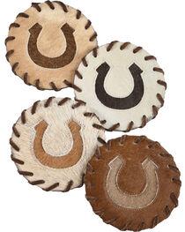 BB Ranch Horseshoe Cowhide Coaster, , hi-res