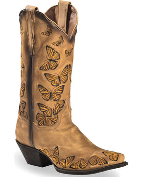 Dan Post Women's Rustic Tan Embroidered Butterfly Cowgirl Boots - Snip Toe, Tan, hi-res