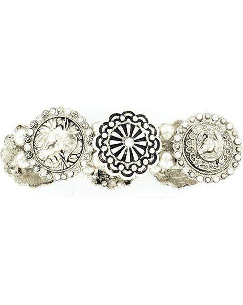 Blazin Roxx Fancy Concho Stretch Bracelet, Silver, hi-res