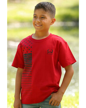 Cinch Boys' Stars and Stripes T-Shirt, Red, hi-res