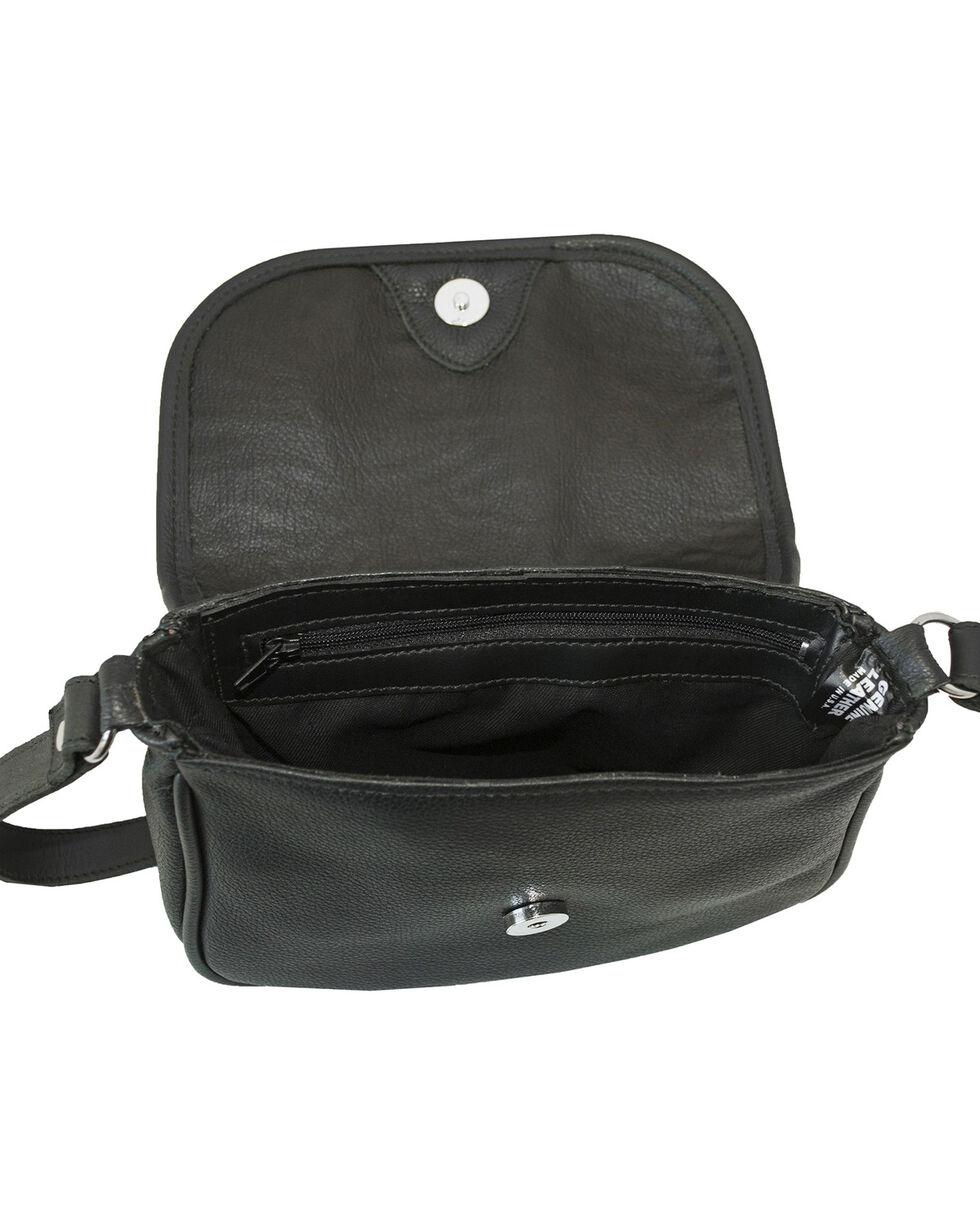 Western Express Women's Black Tooled Leather Crossbody Bag , Black, hi-res