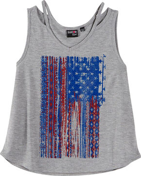 Ransom Girls' Vertical Flag Tank Top , Grey, hi-res
