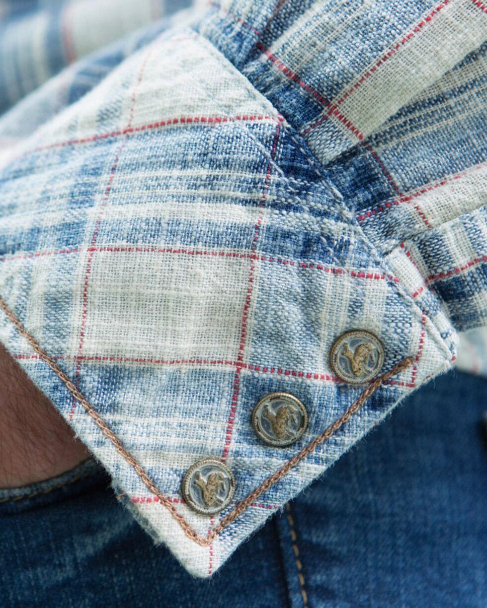 Ryan Michael Men's Indigo Ketchum Textured Plaid Shirt , Indigo, hi-res