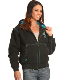 Cowgirl Hardware Women's Cross Decaled Canvas Jacket, , hi-res