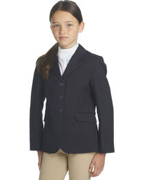 Ovation Girls' Navy Herringbone Sport Riding Jacket, , hi-res