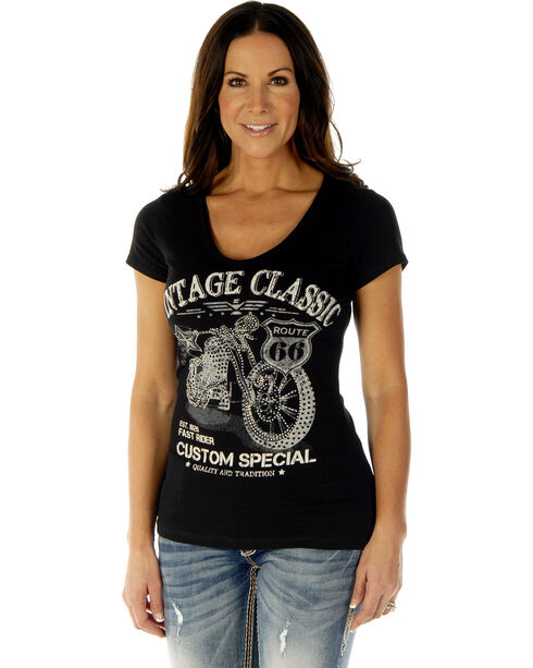 Liberty Wear Women's Vintage Classic Short Sleeve Tee, Black, hi-res