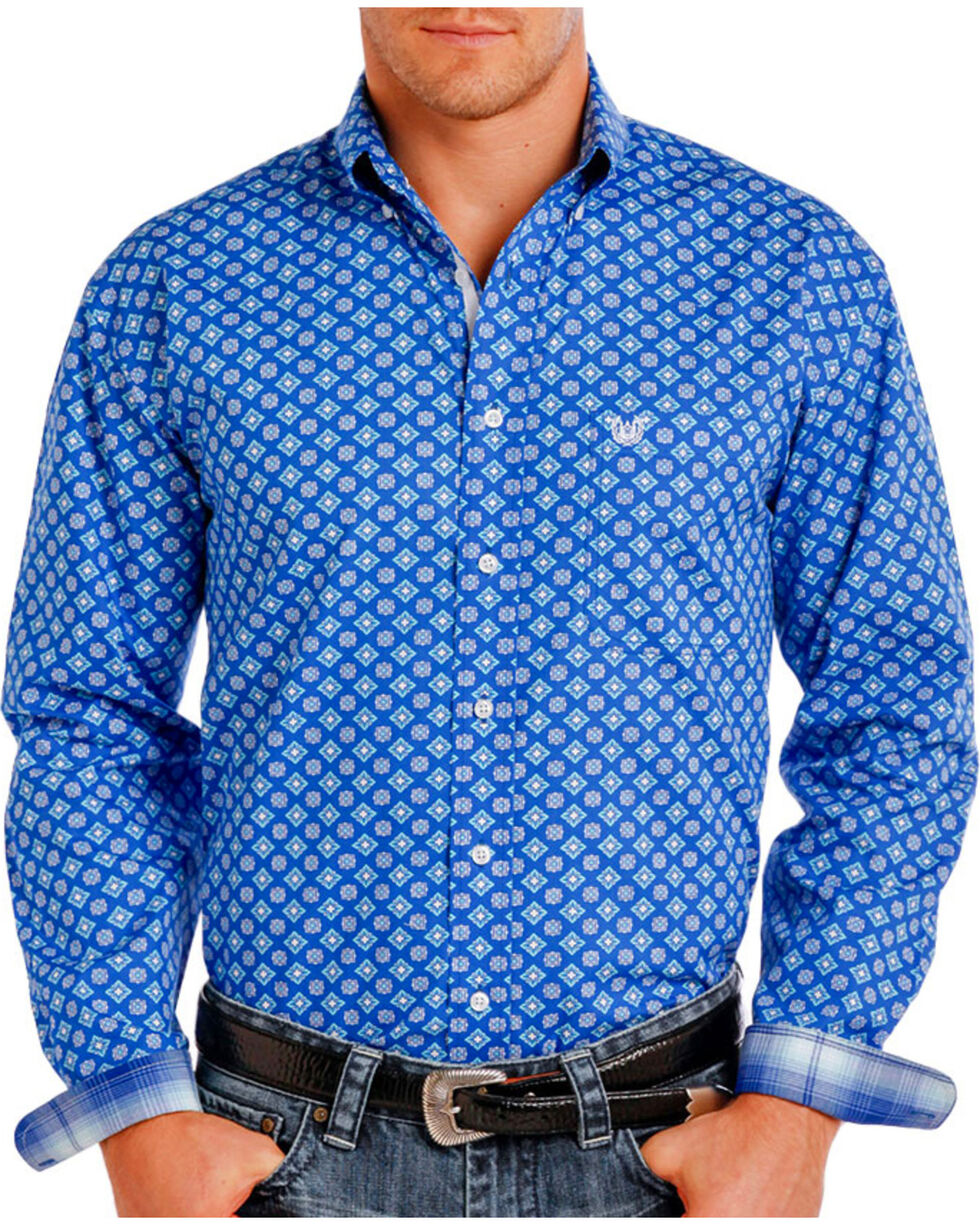 Rough Stock by Panhandle Men's Patterned Long Sleeve Shirt, Blue, hi-res