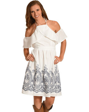 Polagram Women's High Neck Cold Shoulder Dress, White, hi-res