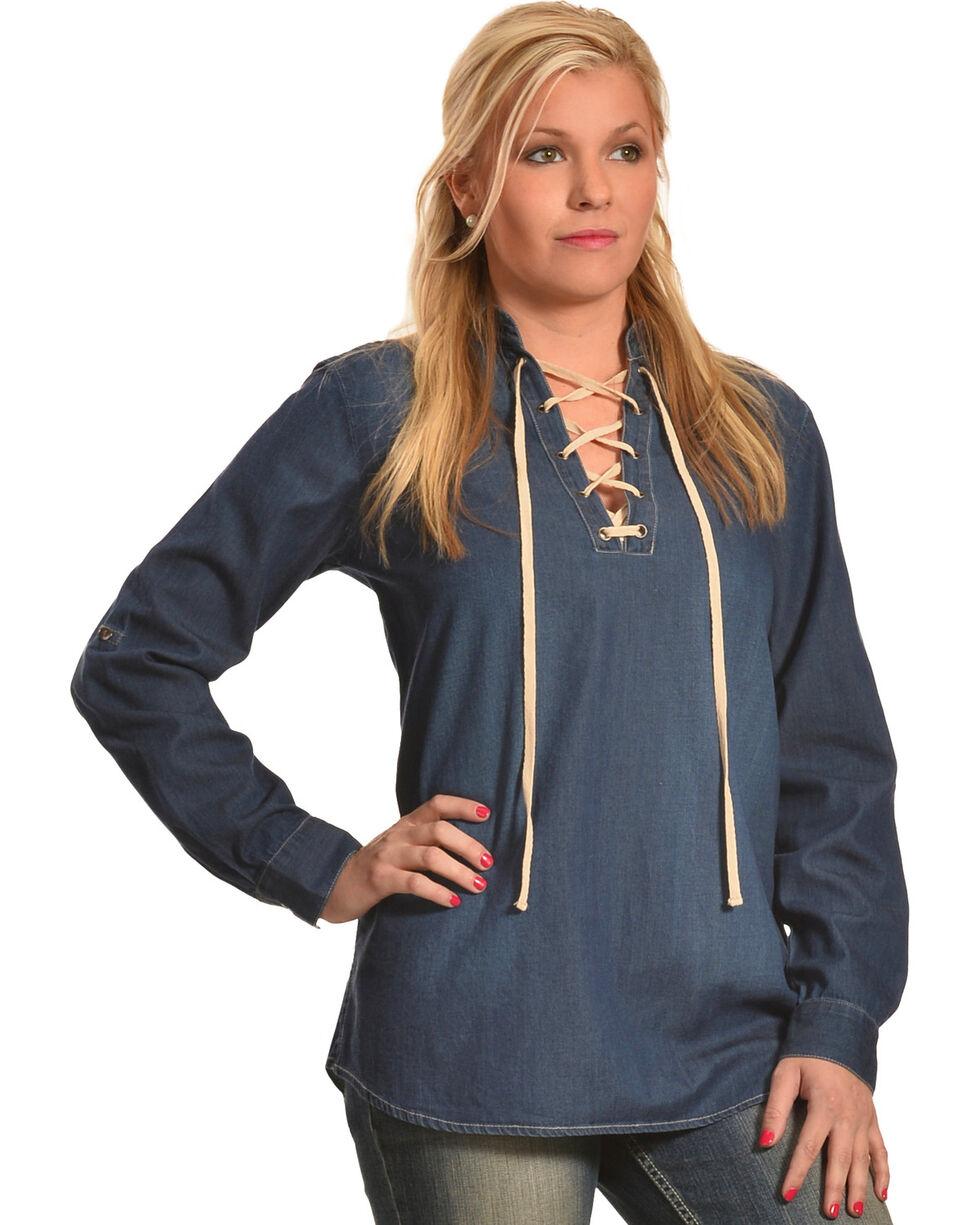 New Direction Women's Moleskin Lace-Front Denim Shirt , , hi-res
