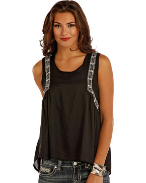 Rock & Roll Cowgirl Women's Black Embroidered Hi-Lo Tank Top, Black, hi-res