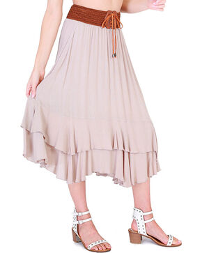 HYFVE Women's Tie Front Midi Skirt, Tan, hi-res