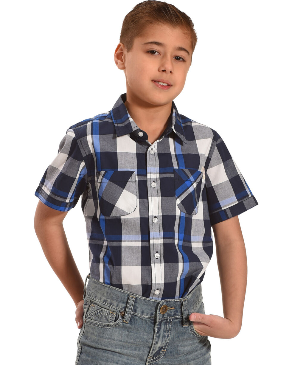 Silver Boys' Navy Plaid Short Sleeve Button Down Shirt, Navy, hi-res